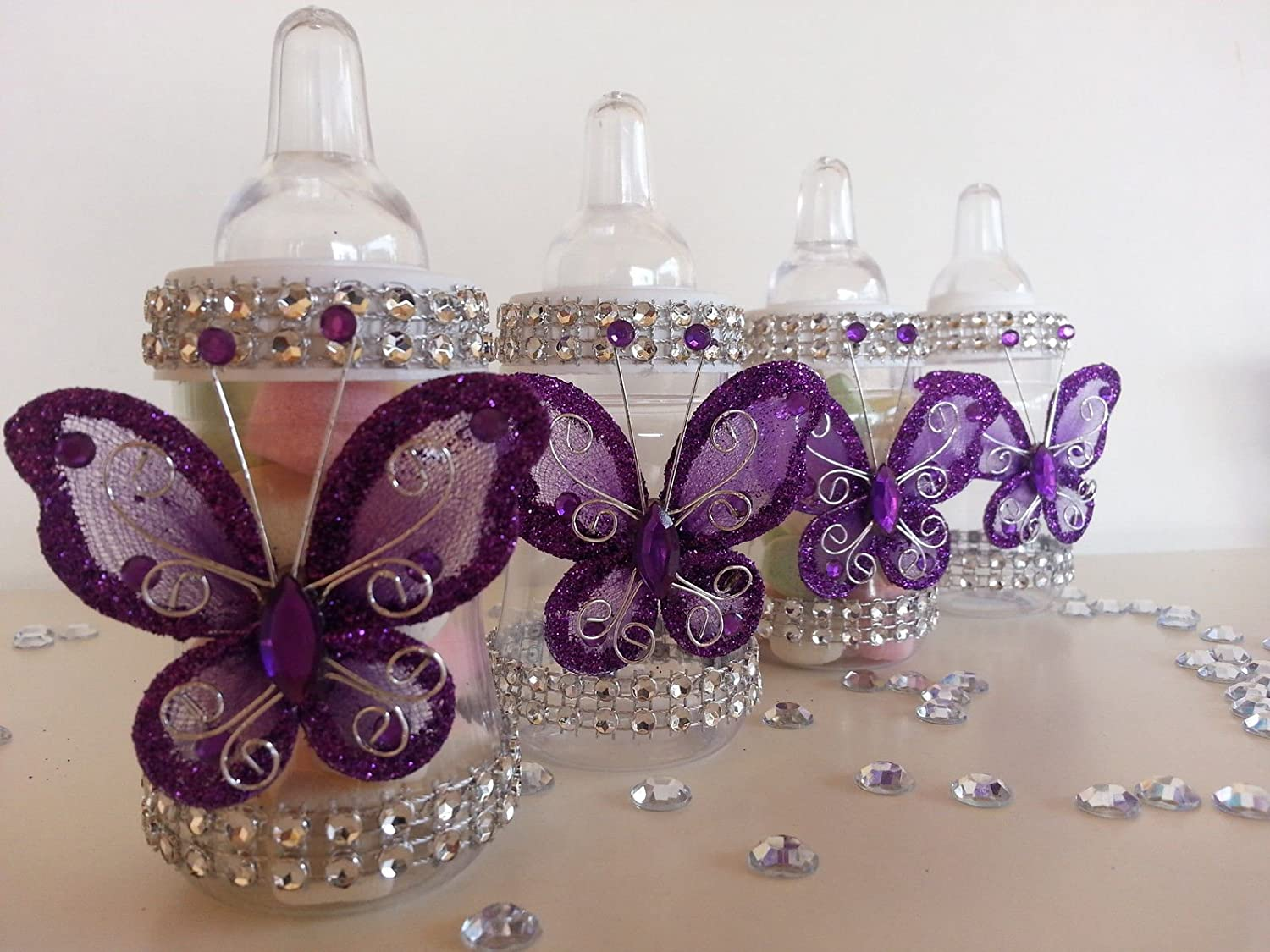 12 Purple Fillable Butterfly Bottles Baby Shower Favors Prizes Girl Decorations Product789