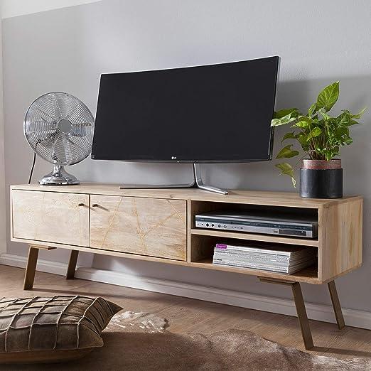 KS-Furniture SIKAR - Mueble bajo para televisor (madera maciza de mango, 145 x 47 x 35