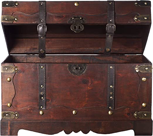 Cofre del tesoro de madera barnizada con cierre plegable de metal 3 tama/ños diferentes 3 unidades