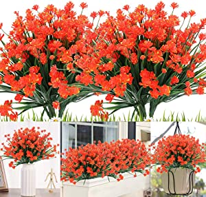 KLEMOO Artificial Flowers, 8 Bundles Fake Outdoor UV Resistant Greenery Faux Plants Shrubs for Indoor Outside Hanging Planter Home Office Wedding Farmhouse Decor (Orange Red)