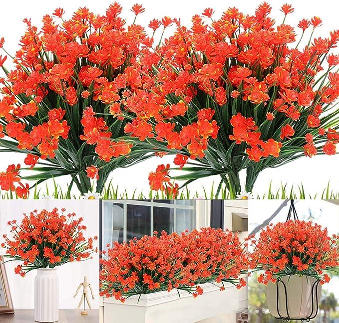 Orange Red Lifelike UV Resistant Fake Shrubs Greenery Bushes Bouquet to Brighten up Your Home Kitchen Garden Indoor Outdoor Decor KLEMOO Artificial Lavender Flowers Plants 6 Pieces