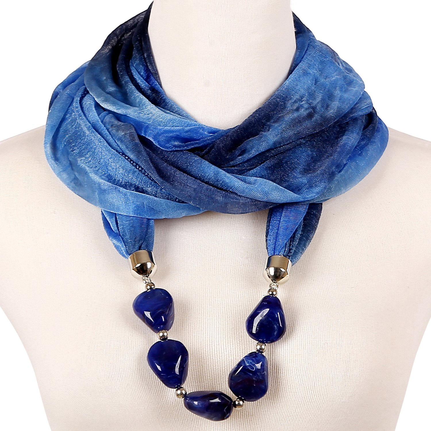LERDU Gift Idea Infinity Scarf Necklace Jewelry Accessory for Women Capri Blue SC150164-6