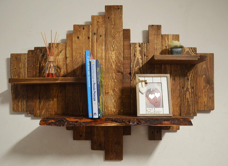 Biblioteca de madera maciza, cuadro diseño rústico marrón ...