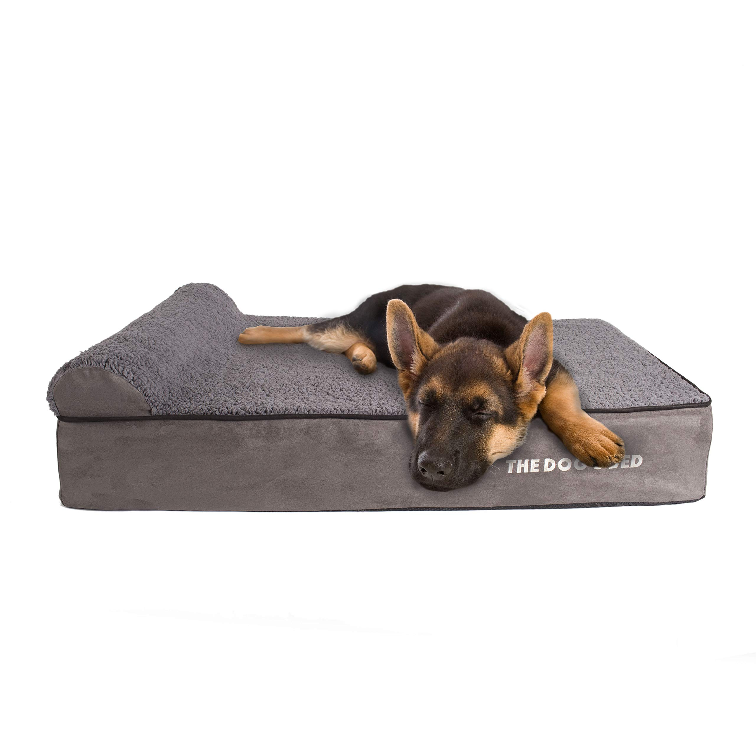 """The Dog's Bed, Premium Plush Orthopedic Waterproof Memory Foam Dog Bed, Eases Pet Arthritis, Hip Dysplasia & Post Op Pain, Quality Therapeutic, Supportive Bed, Large 40"""" x 25"""" x 6"""" (Grey Plush)"""