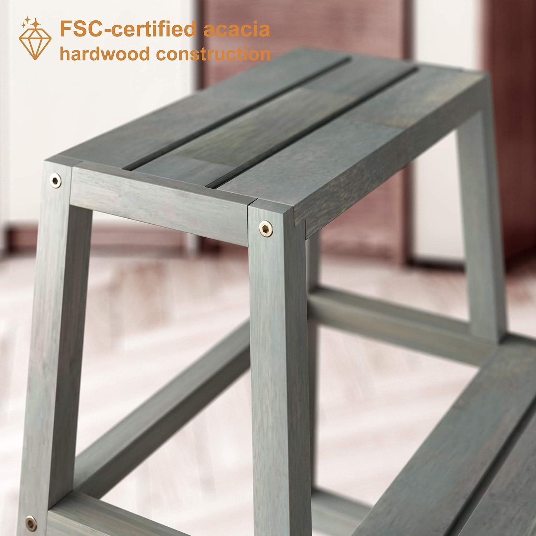 INTERBUILD Acacia Hardwood 2-Step Bed Step Stool Plant Stand Espresso