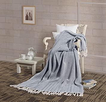 Pleasing Aztocratic All Season Cotton Throw Blanket Soft Cozy Woven Throw Size 50 X 70 For Sofa Couch Bed Chair Breathable Lightweight Cover Blanket Bralicious Painted Fabric Chair Ideas Braliciousco