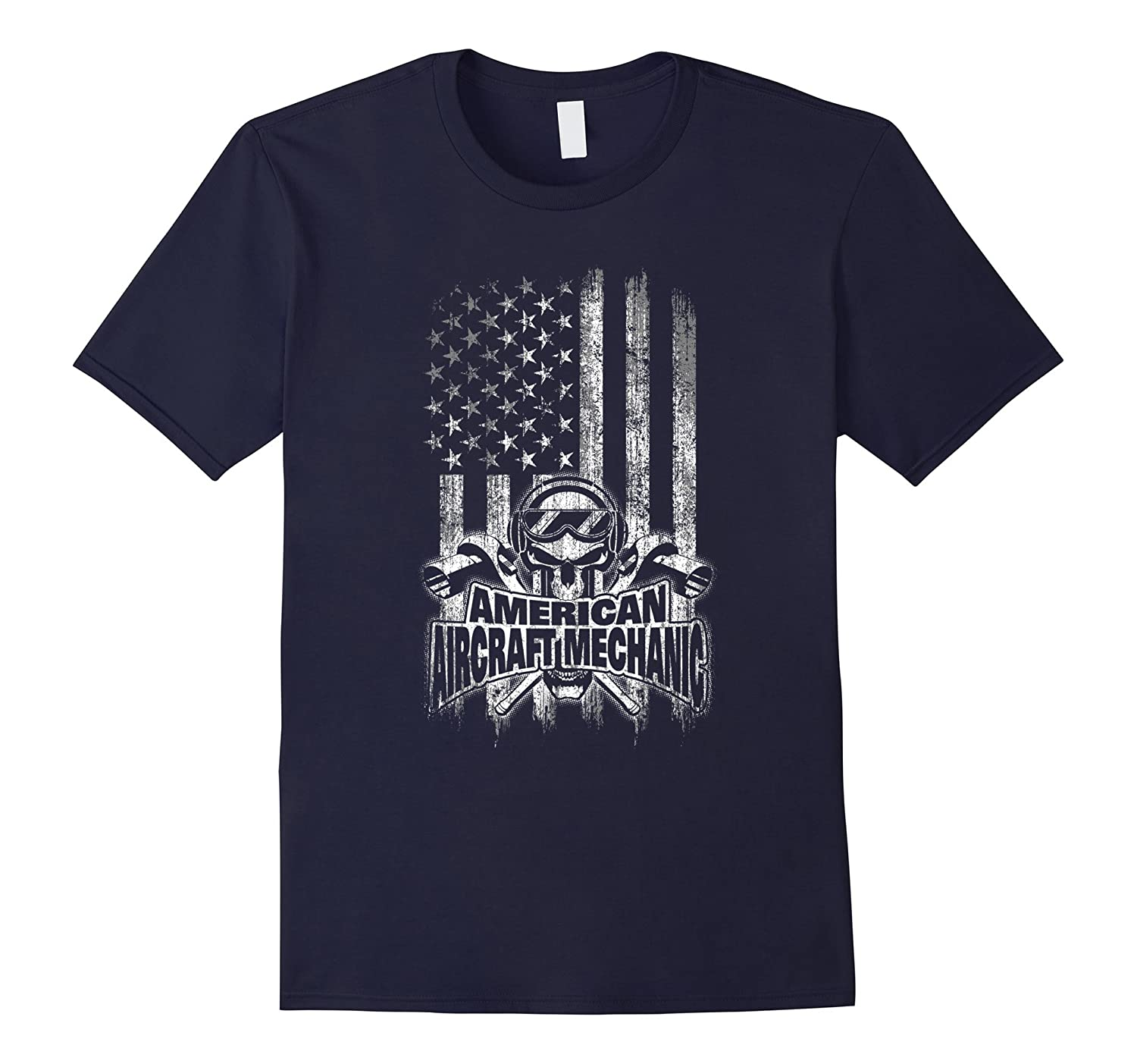 Aircraft Mechanic T-Shirt American Flag Skull and Ratchets-TD