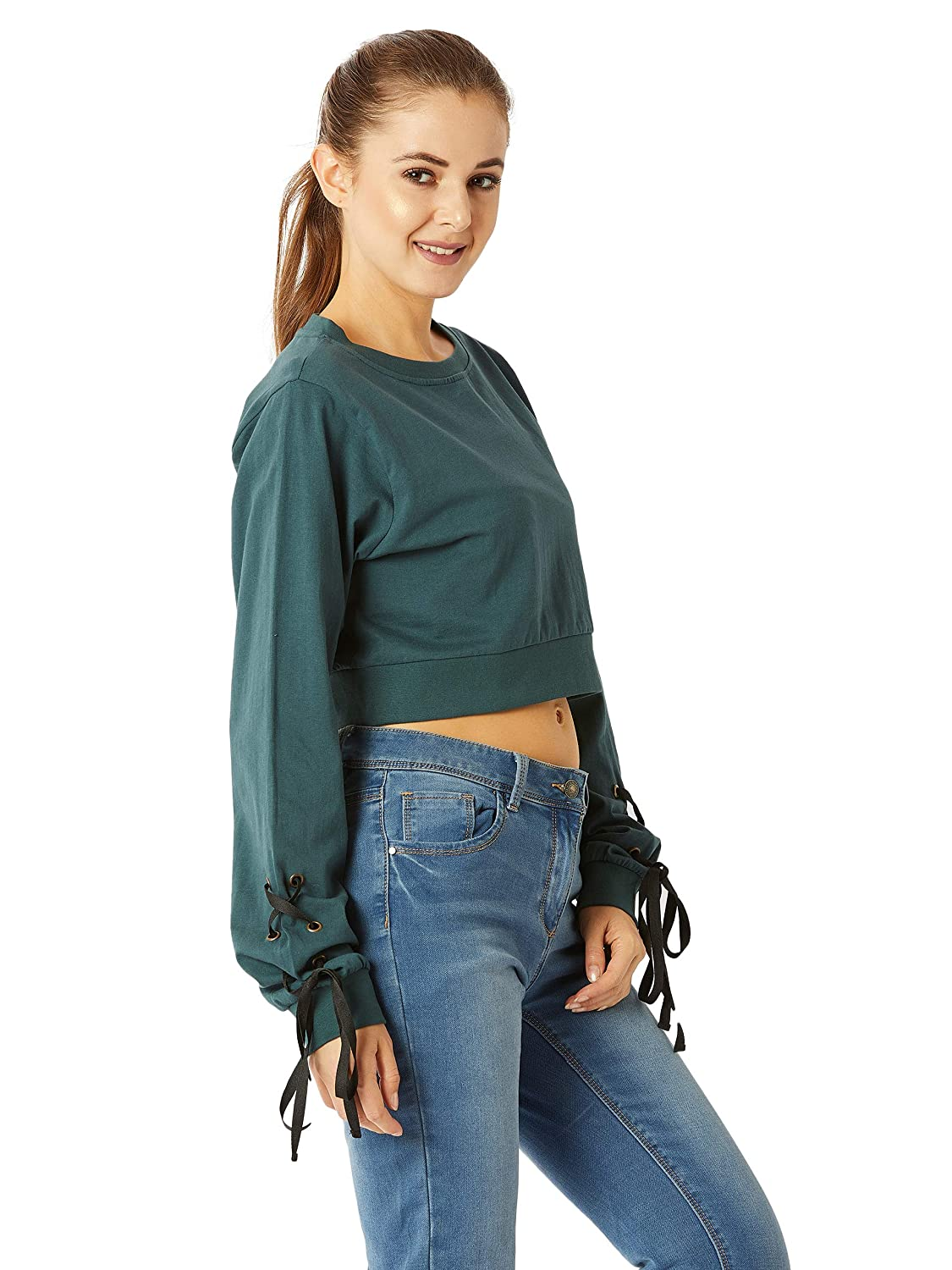 10a1dfe2f8f Miss Chase Women's Green Cotton Boxy Crop Top: Amazon.in: Clothing &  Accessories