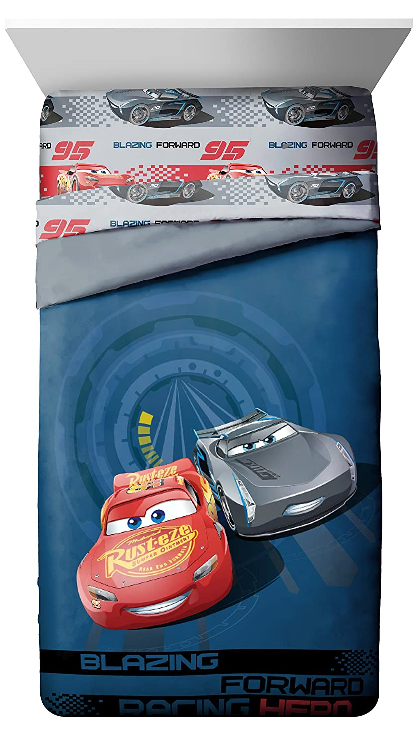 Disney/Pixar Cars 3 Movie Editorial Blue/Gray Twin/Full Reversible Comforter with Lightning McQueen & Jackson Storm (Official Disney/Pixar Product)