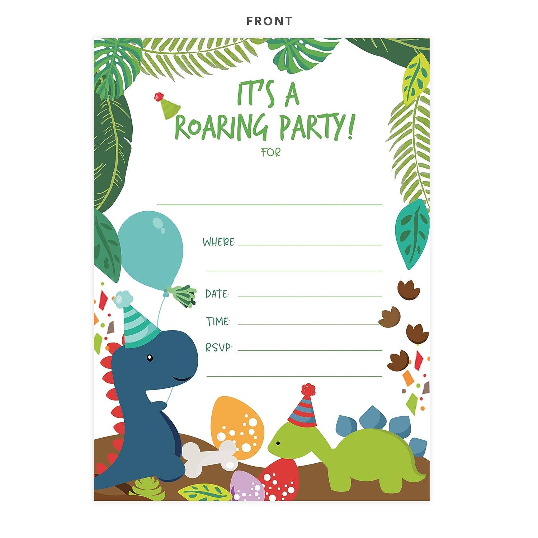 Amazon.com: Dinosaurio Feliz tarjetas de invitaciones de ...