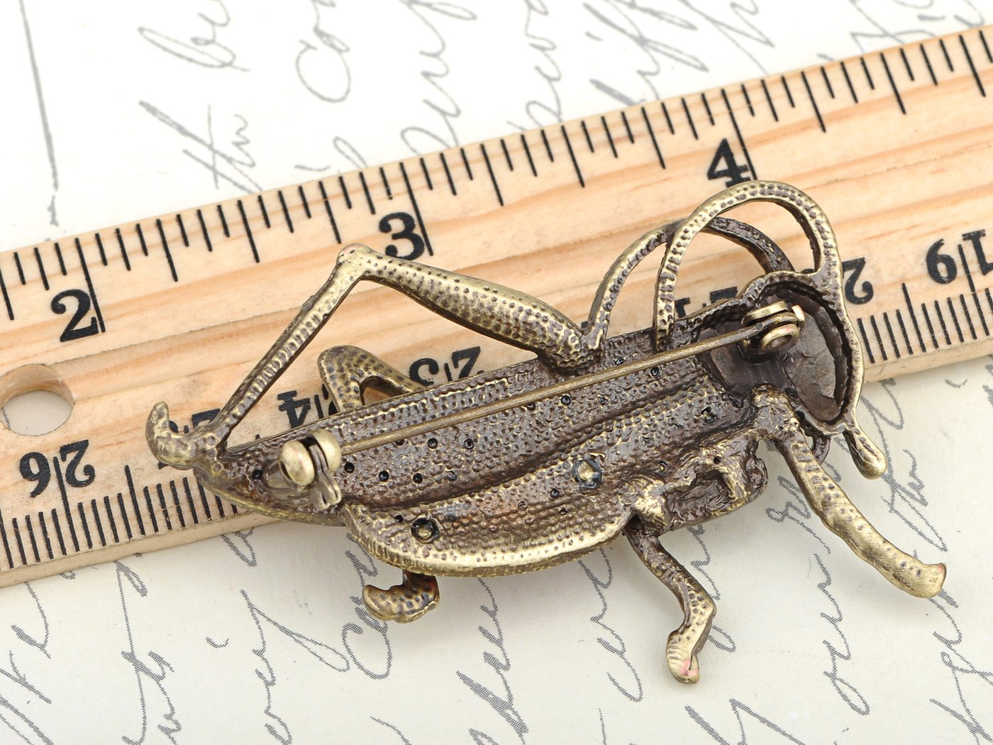 Alilang Womens Antique Golden Tone Red Rhinestones Grasshopper Cricket Insect Brooch Pin by Alilang (Image #3)