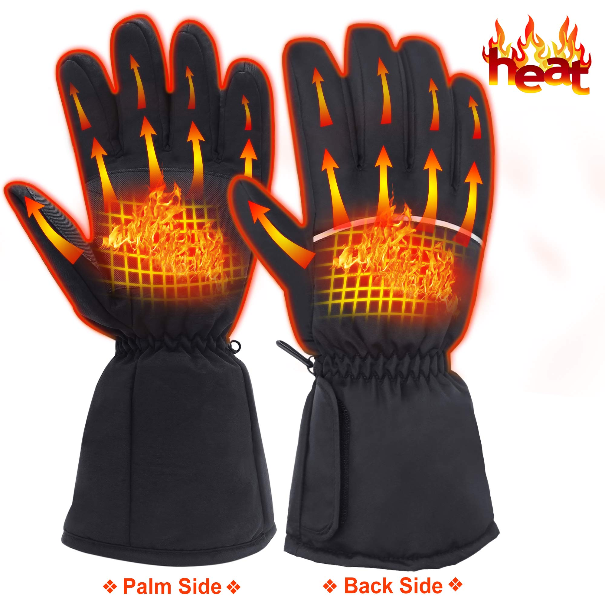 Rechargeable Electric Heated Gloves-Men Women Battery Powered Heating Gloves,Waterproof Thermal Insulated Heated Gloves for Winter Sports Outdoors Climbing Hiking,Perfect Gift Ideas as Hand Warmer