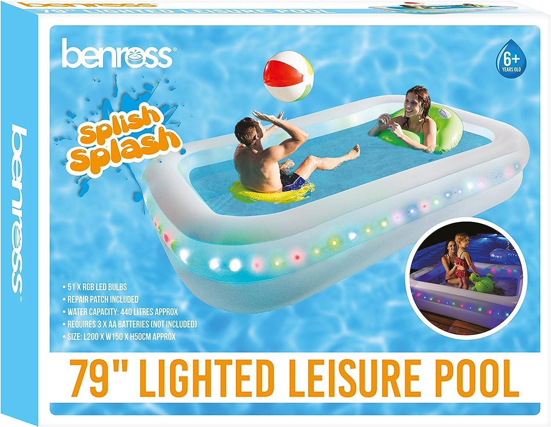 Benross 84520 - Piscina Hinchable con luz LED, Funciona con Pilas ...