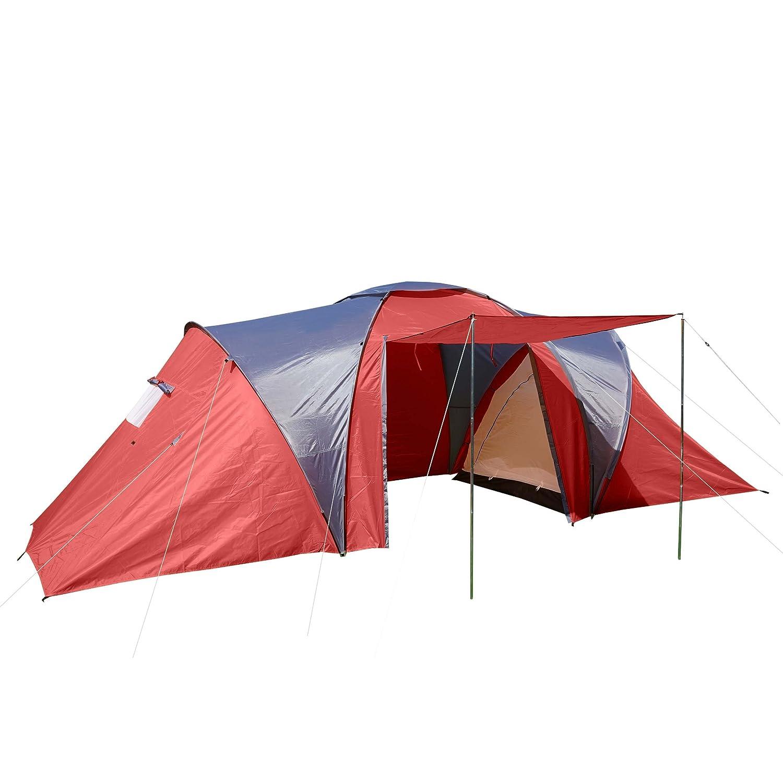 Campingzelt Loksa, 6-Mann Zelt Kuppelzelt Igluzelt Festival-Zelt, 6 Personen  rot