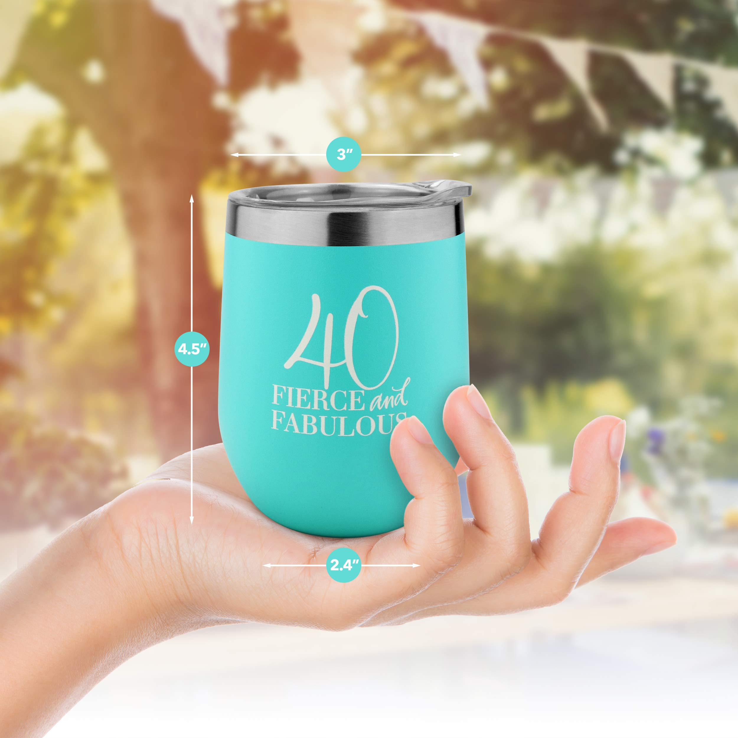 40th Birthday Gifts for Women, 12 oz Stainless Steel Wine Tumbler with Lid, Insulated Wine Glass for 40, Milestone Birthday Gift for Her, Presents for Turning Forty and Fabulous, Travel Cup by Sips & Gifts (Image #3)
