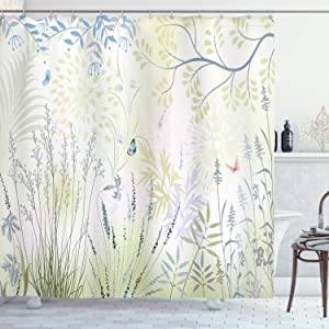 "Ambesonne Nature Shower Curtain, Wild Herbs and Butterfly Fern Curved Branch Mother Earth Foliage Graphic, Cloth Fabric Bathroom Decor Set with Hooks, 70"" Long, Blue Green"