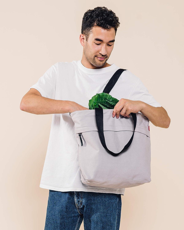 Beige Gro/ße Reisetasche mit Au/ßentasche mit Rei/ßverschluss und verstellbarem Schultergurt Caldo Canvas Market Tote Natur - BG-DAT-05 fr/üher Abbot Fjord