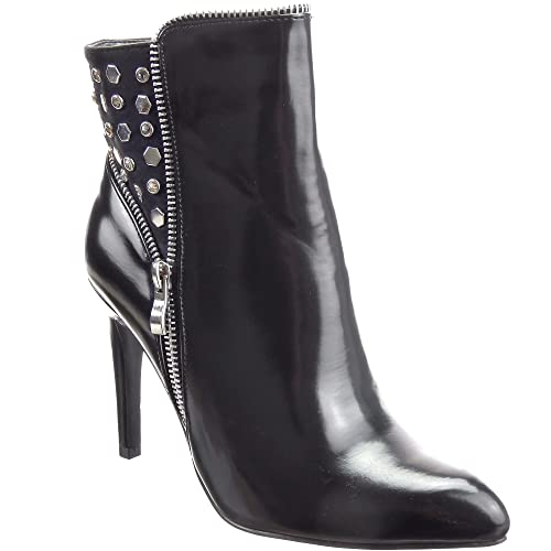 Sopily - Zapatillas de Moda Botines Low boots Tobillo mujer tachonado cuadrado pirámide strass Talón Tacón