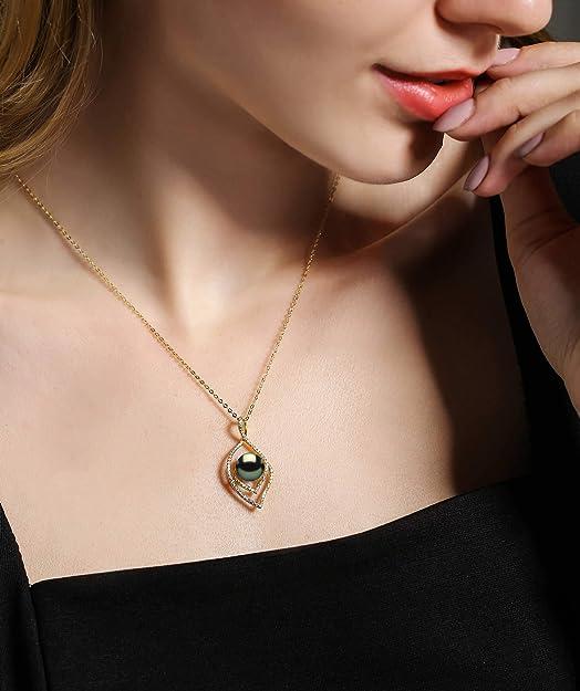 Amazon.com: CHAULRI - Collar con colgante de perlas negras ...