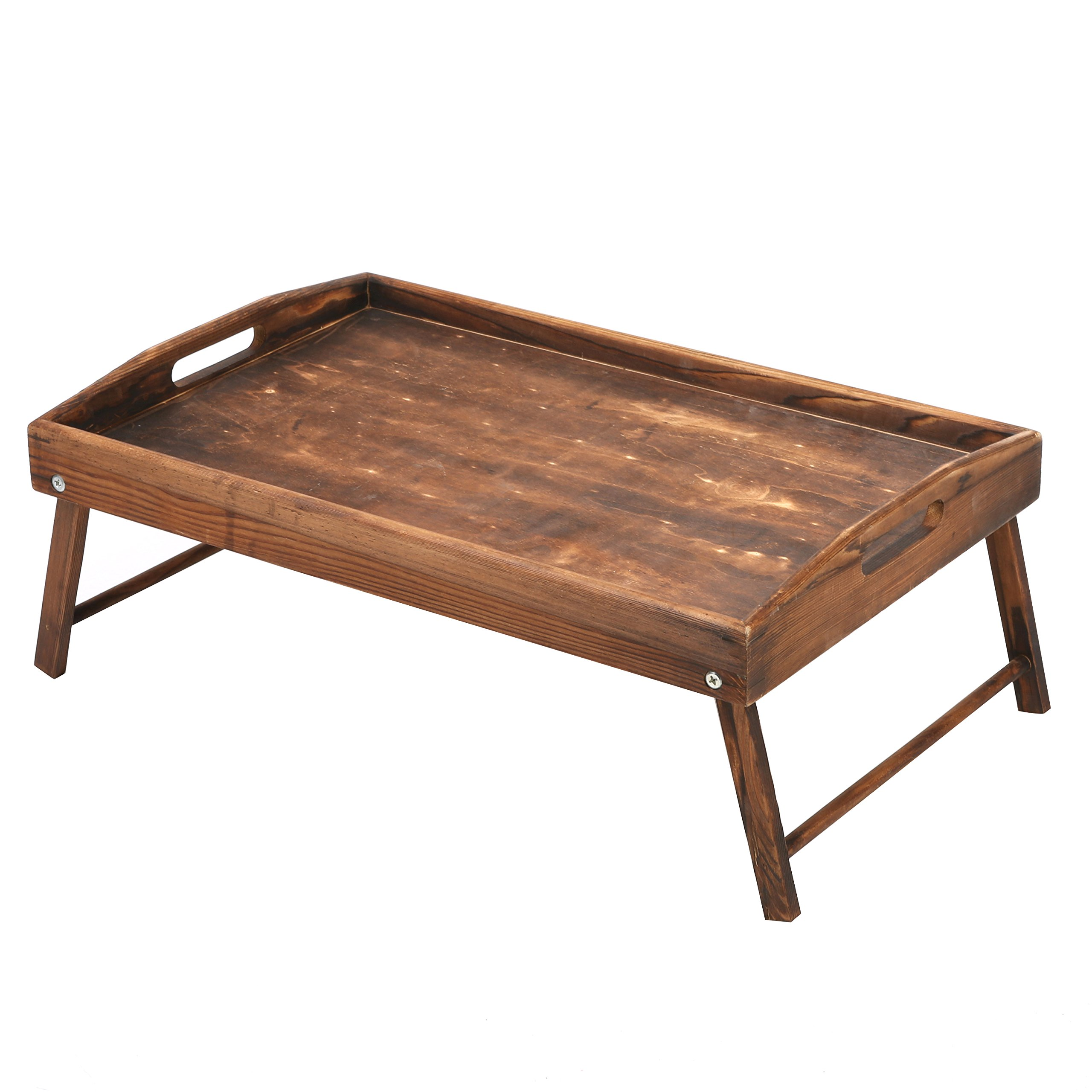 Country Rustic Torched Wood Food Serving Tray, Breakfast in Bed Table with Folding Legs by MyGift (Image #3)