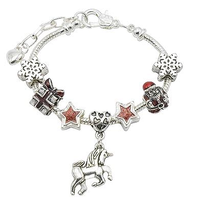 Bracelet de No\u0026euml;l motif licorne avec bo\u0026icirc;te cadeau , Pour filles