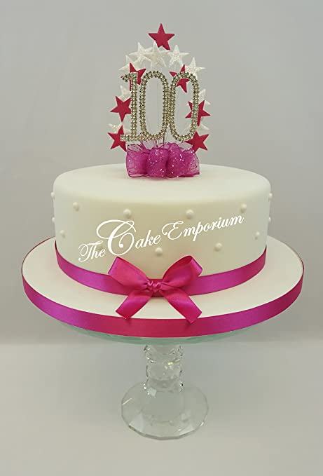 Cake Topper Burst Spray Diamante 100th Birthday Fuchsia Pink White