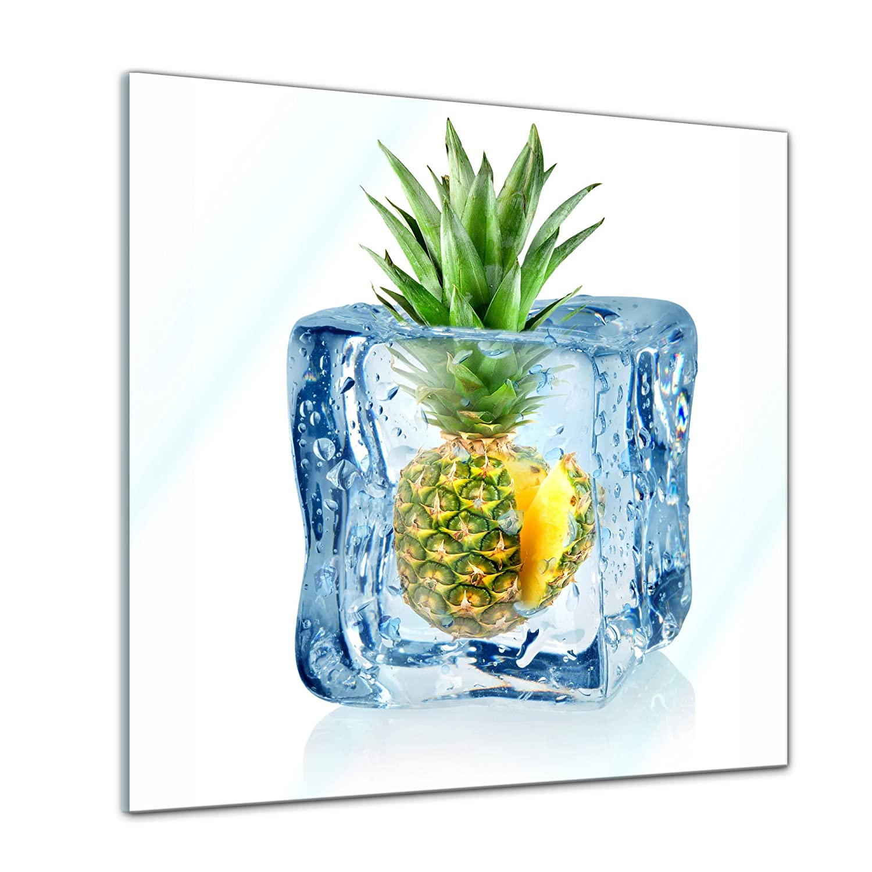 Handmade Moderne Glasbilder Glasfoto Echtglas kein Acryl Bild auf Glas Eisw/ürfel Ananas Wandbild aus Glas Glasbild 20x20 cm Deko Glas