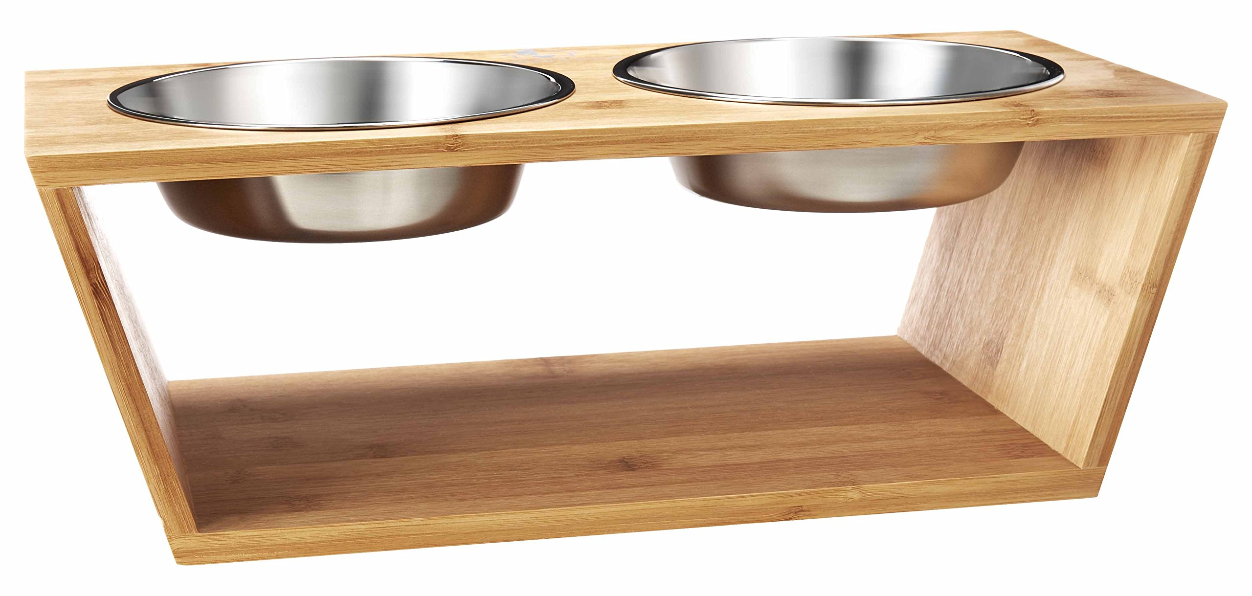 PoochMaison Premium Elevated Double Raised Bowl Stand, Pet Feeder with Two Stainless Steel Bowls. Great for Dogs and Cats. (Medium, Natural)