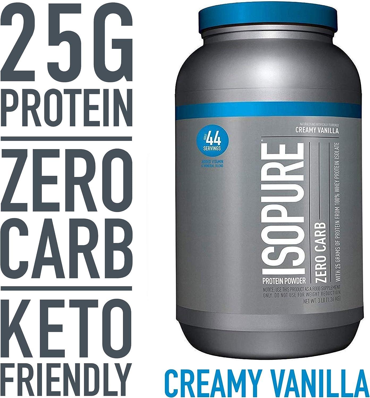 Isopure Zero Carb, Keto Friendly Protein Powder, 100 Whey Protein Isolate, Flavor Creamy Vanilla, 3 Pounds