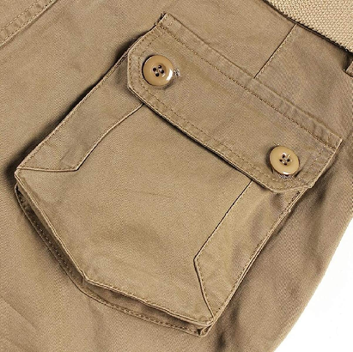 CBTLVSN Mens Rugged Loose Cargo Pants Multi Pocket Straight Trousers