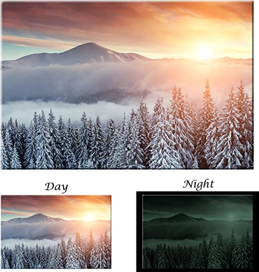 Picture Sensations Glow in The Dark Canvas Wall Art Nature Autumn Misty Forest