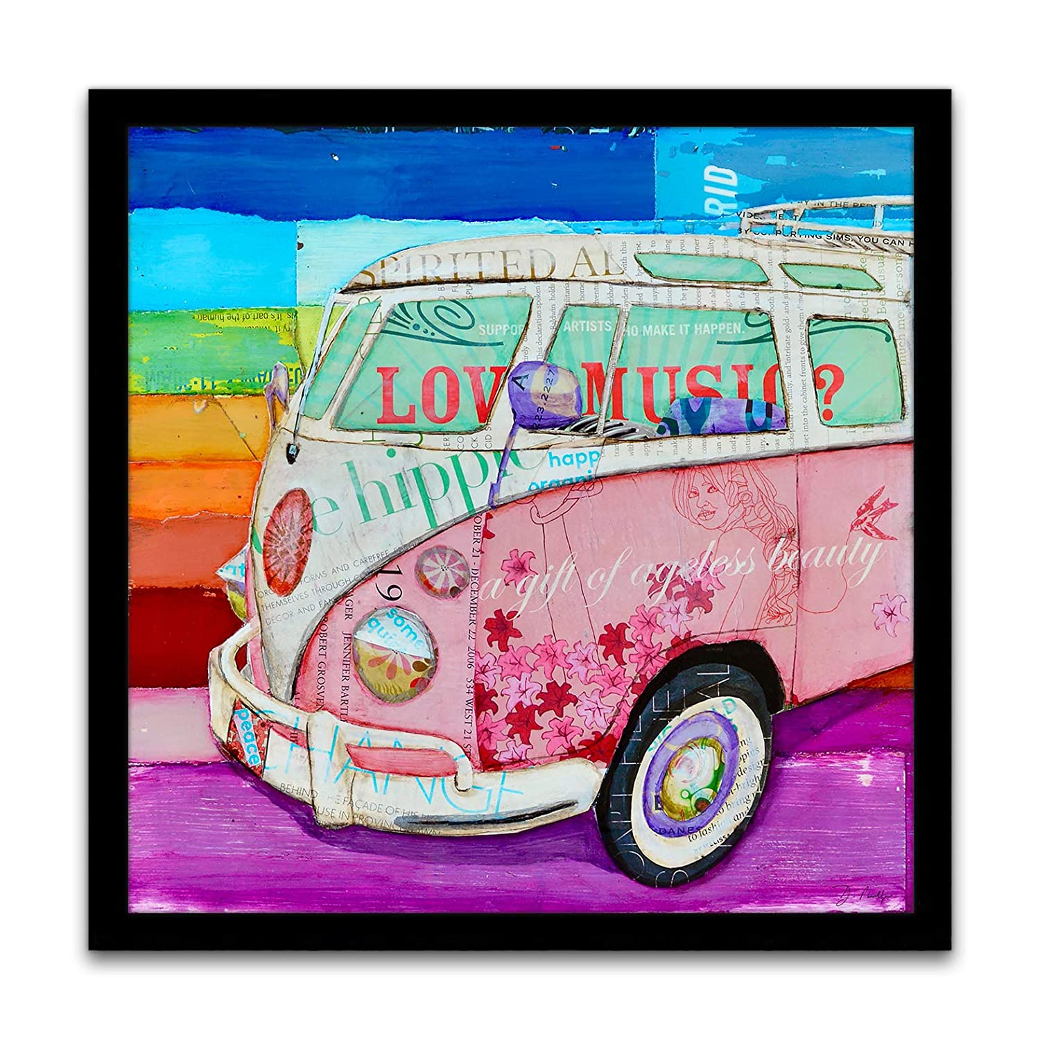 Pretty in Pink - Danny Phillips Art Print, Unframed, Red Classic Antique Car Van Artwork, Santa Cruise Coastal Beach Nautical Mixed Media Collage Painting Wall and Home Decor, All Sizes