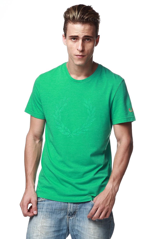 Fred Perry etiqueta verde camisa de cuello redondo camiseta para ...