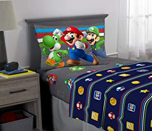 Franco Kids Bedding Soft Microfiber Sheet Set, 3 Piece Twin Size, Super Mario
