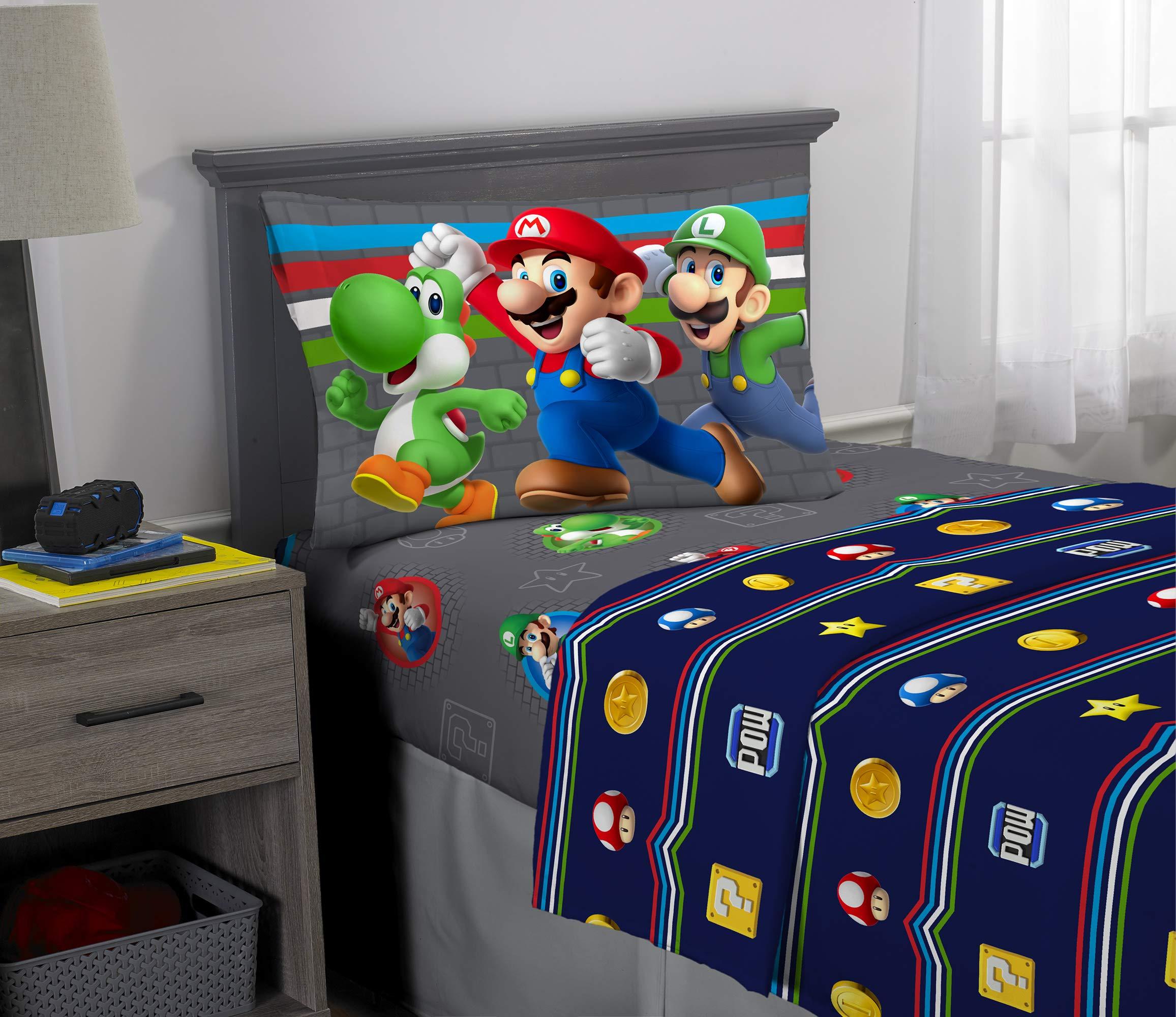 Franco Kids Bedding Super Soft Sheet Set, 3 Piece Twin Size, Mario by Franco