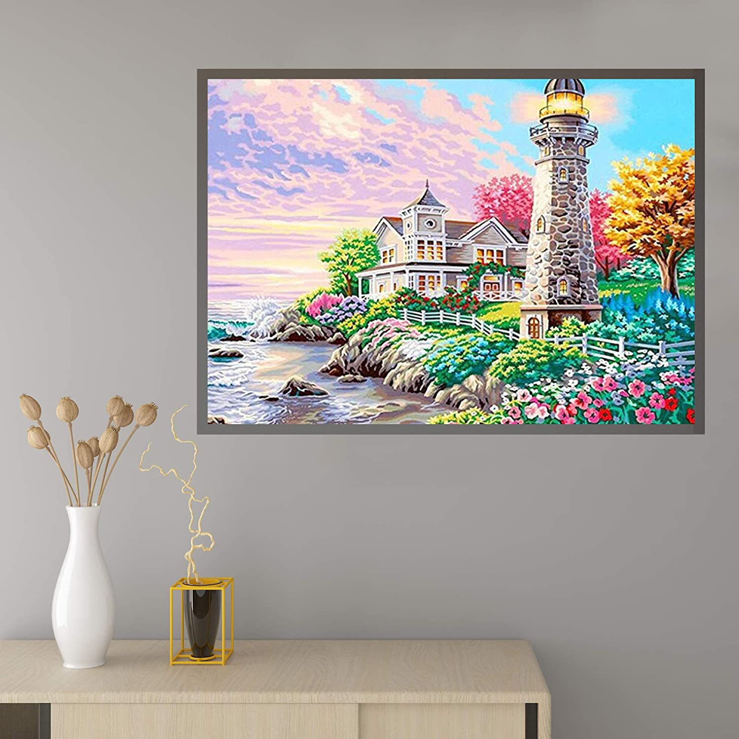 Round Full Drill Acrylic Embroidery Cross Stitch Arts Craft Canvas Supply for Home Wall Decor Adults and Kids 11.8X15.8inches DIY 5D Diamond Painting Kit