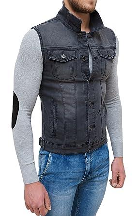huge selection of 603ad 4d8ae Evoga Giubbotto Smanicato di Jeans Uomo Nero Denim Cardigan Gilet Giacca  Casual