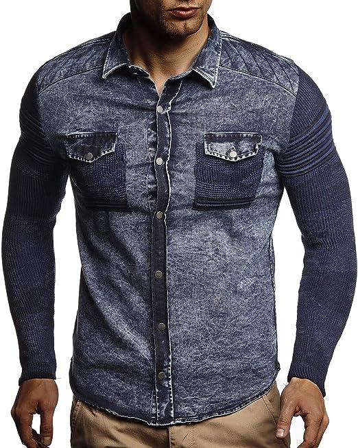 Leif Nelson Herren Sweat-Jacke Denim Vintage Jeans-Jacke fr ...