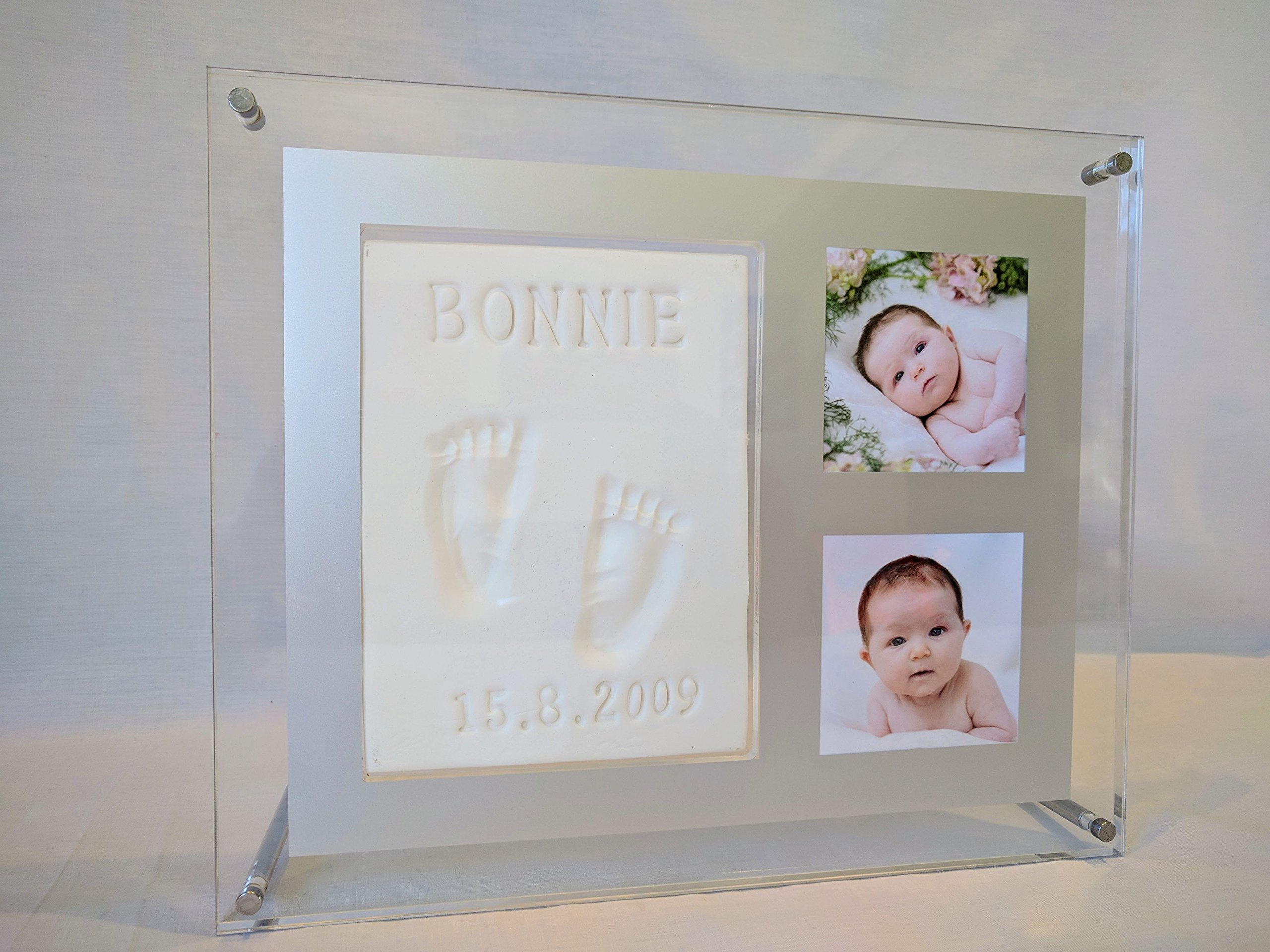 BABY HAND & FOOTPRINT PICTURE FRAME KIT WITH STAINLESS STEEL STANDS. Capture In Clay your precious memories. Perfect baby shower idea, baby registry for girls and boys & animal lovers.