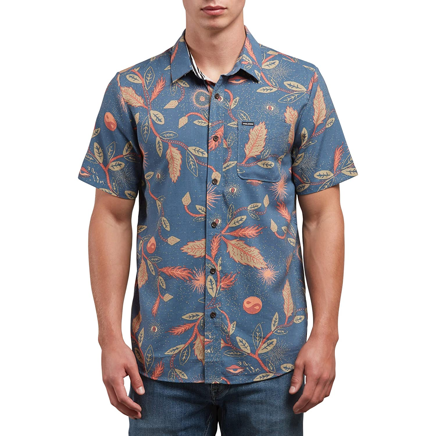 Volcom Mens Broha Short Sleeve Button Up Hawaiian Shirt