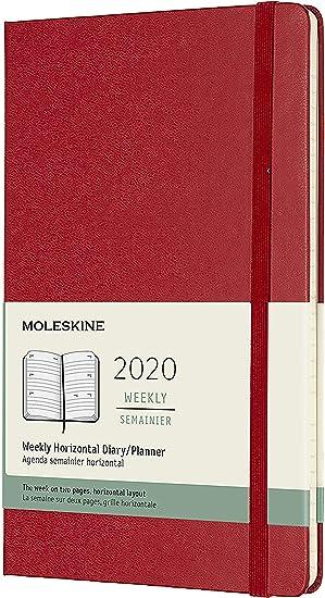Moleskine - Agenda Semanal Horizontal de 12 Meses 2020, Tapa Dura y Goma Elástica, Tamaño Grande 13 x 21 cm, 144 Páginas, Rojo Escarlata