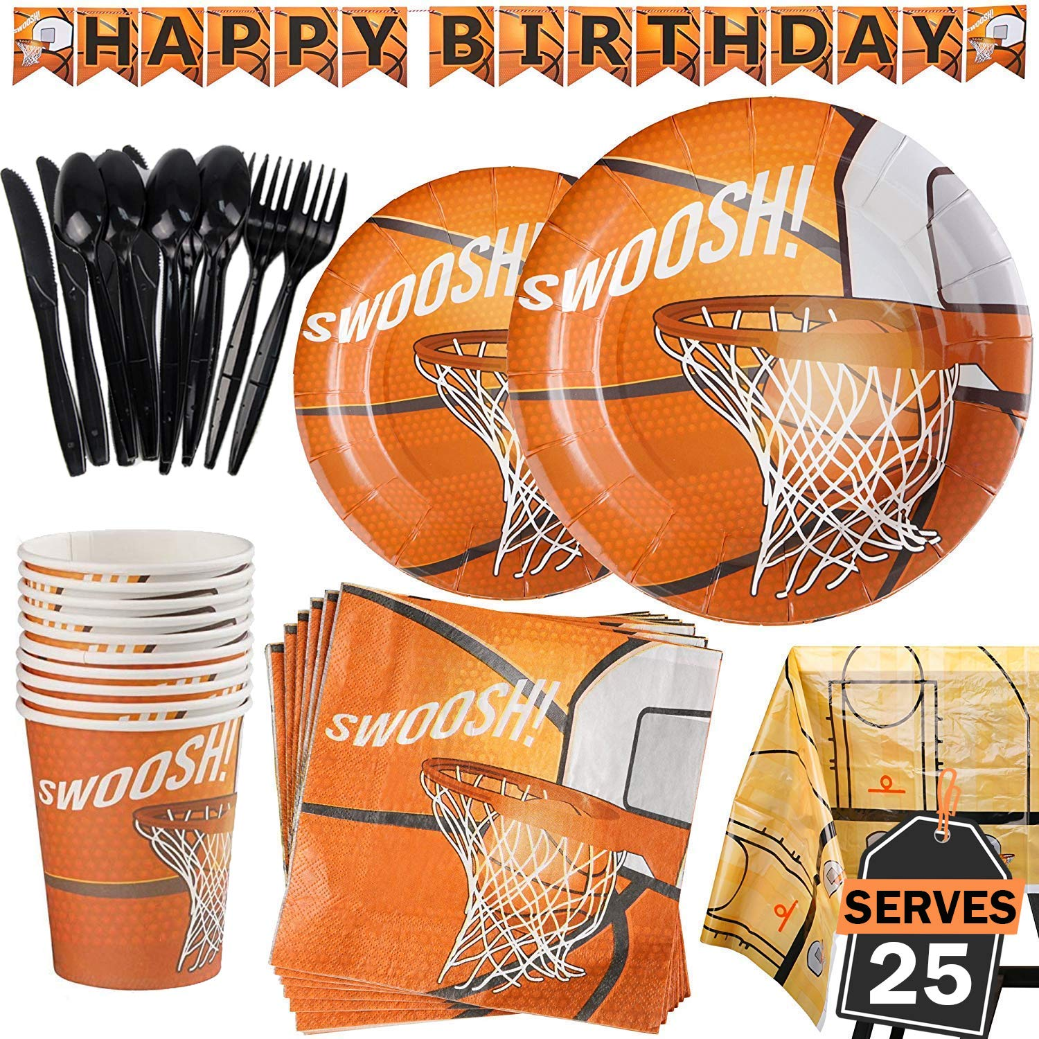177 Piece Basketball Party Supplies Set Including Banner, Plates, Cups, Napkins, Cutlery, and Tablecloth, Serves 25 by Scale Rank