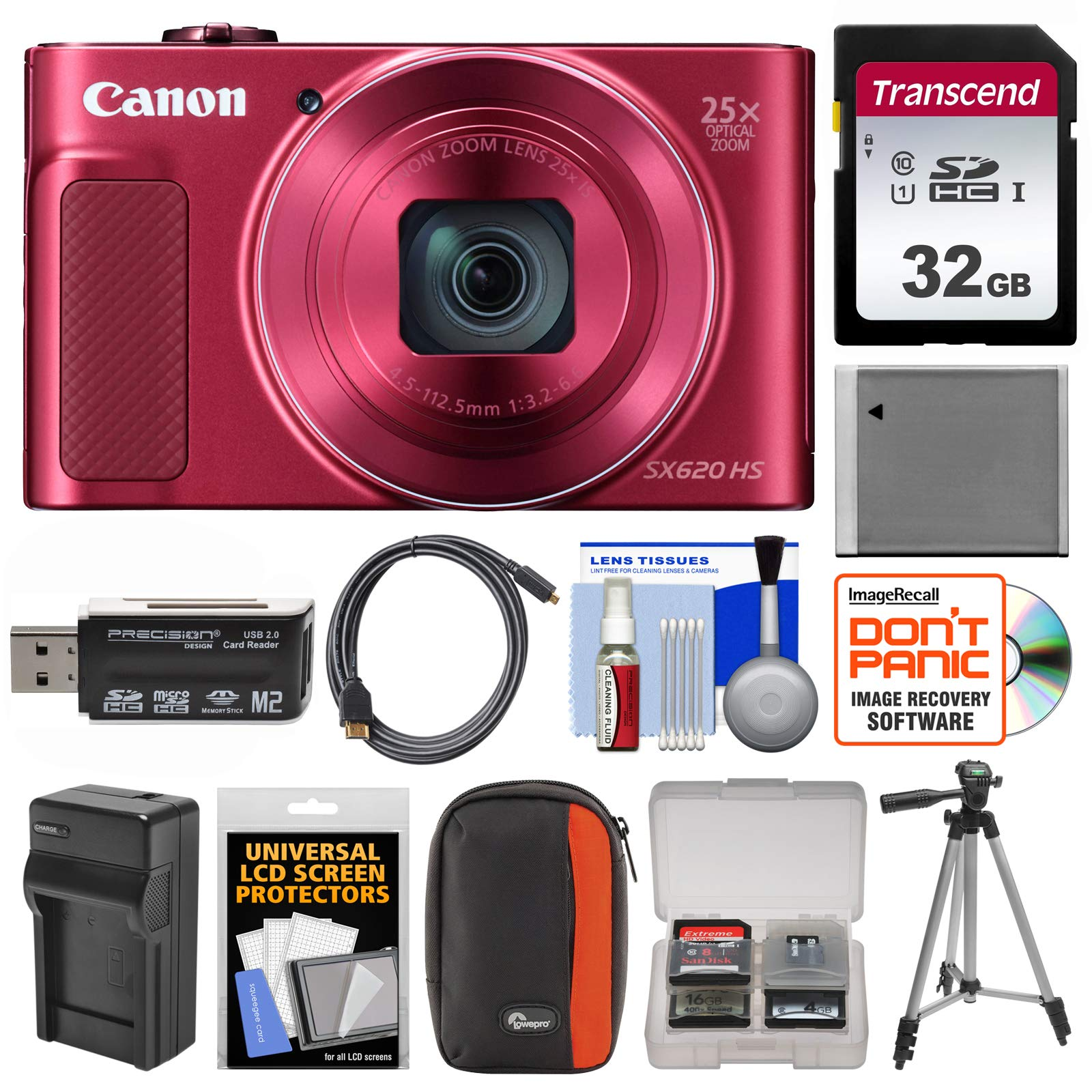 Canon PowerShot SX620 HS Digital Camera Red with 16GB Accessory Bundle