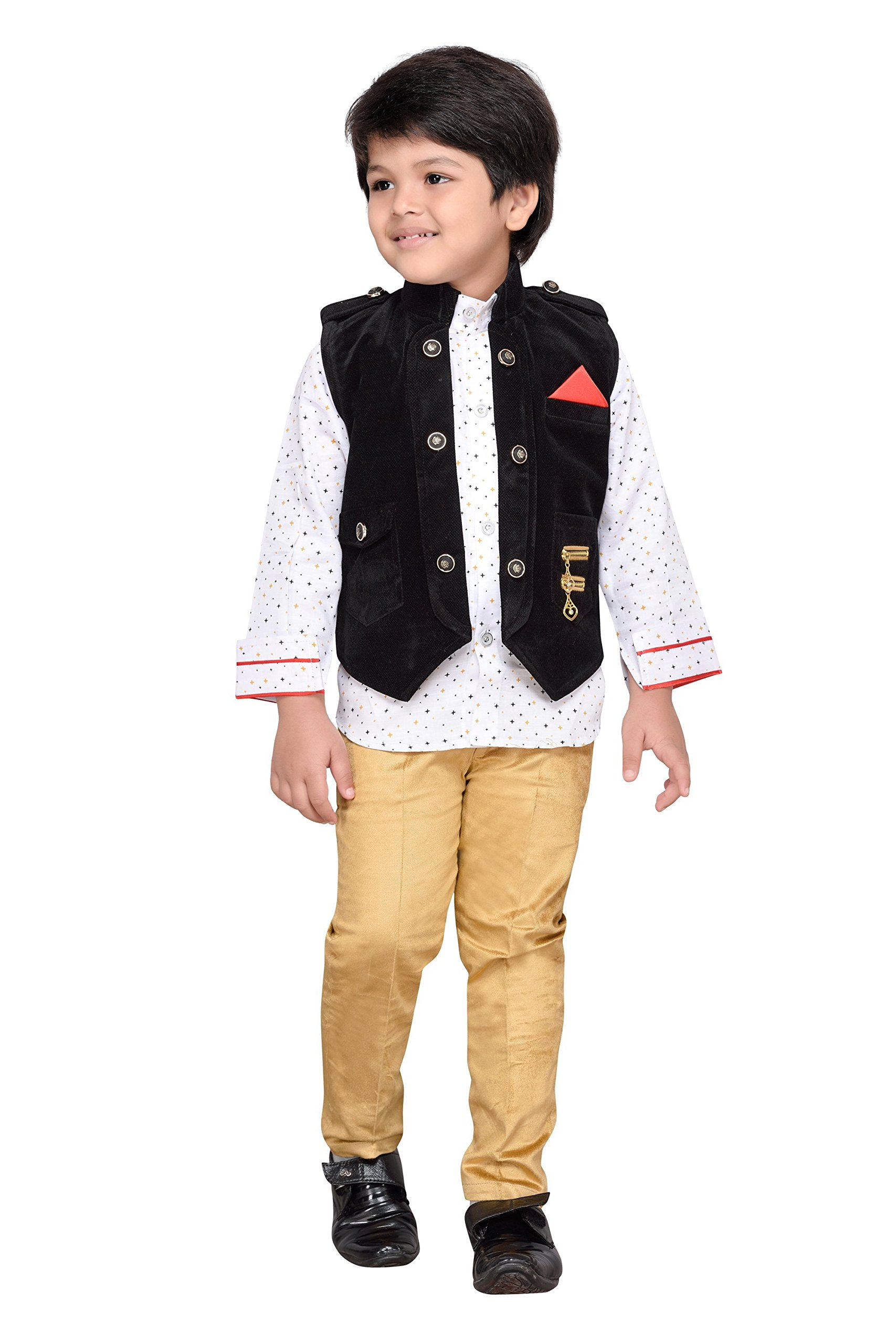 AJ Dezines Kids Indian Wear Bollywood Style Shirt Waistcoat and Pant Clothing Set for Boys (808-BLACK-7)