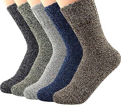 5 pares de calcetines para hombre lana algodón casual patrón de ...