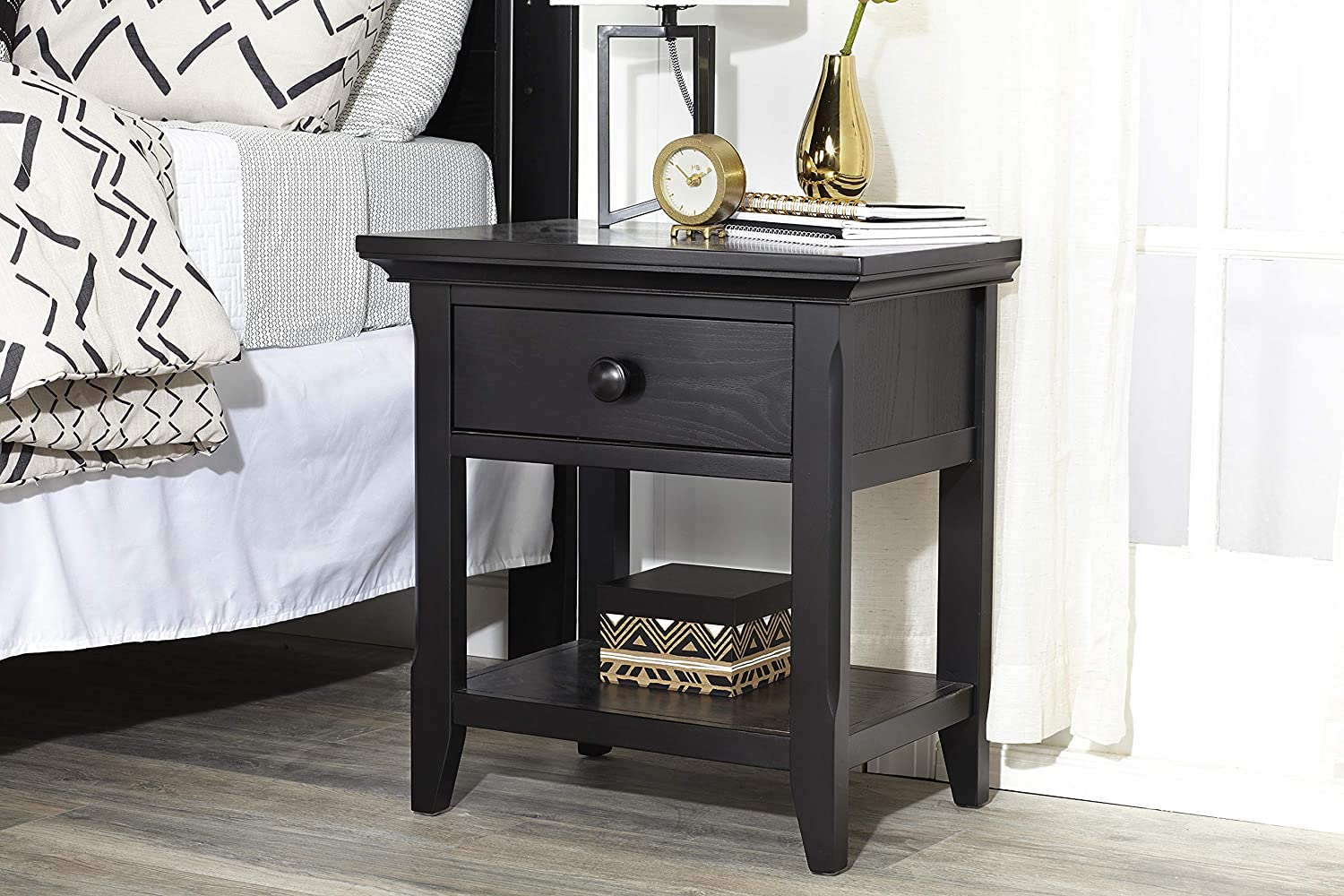 Baby Cache Overland 1 Drawer Nightstand Forever Black