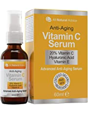 20% Vitamin C Serum - 60 ml / 2 oz Made in Canada - Certified Organic Ingredients + 11% Hyaluronic Acid + Vitamin E Moisturizer + Collagen Boost - Reverse Skin Aging, Remove Sun Spots, Wrinkles and Dark Circles, Excellent for Sensitive Skin + Includes Pump & Dropper