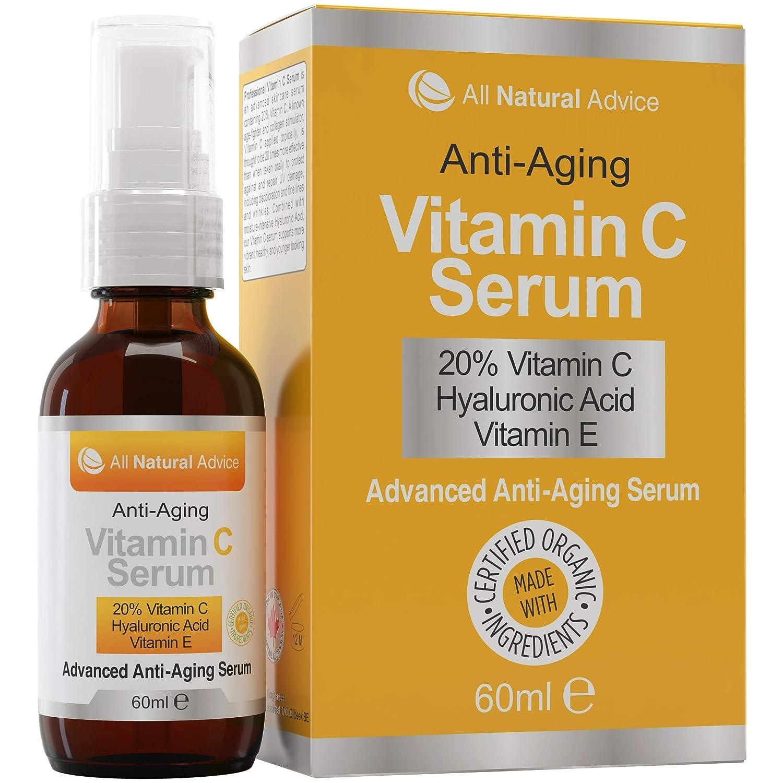 20% Vitamin C Serum - 60 ml / 2 oz Made in Canada - Certified Organic  Ingredients + 11% Hyaluronic Acid + Vitamin E Moisturizer + Collagen Boost  -