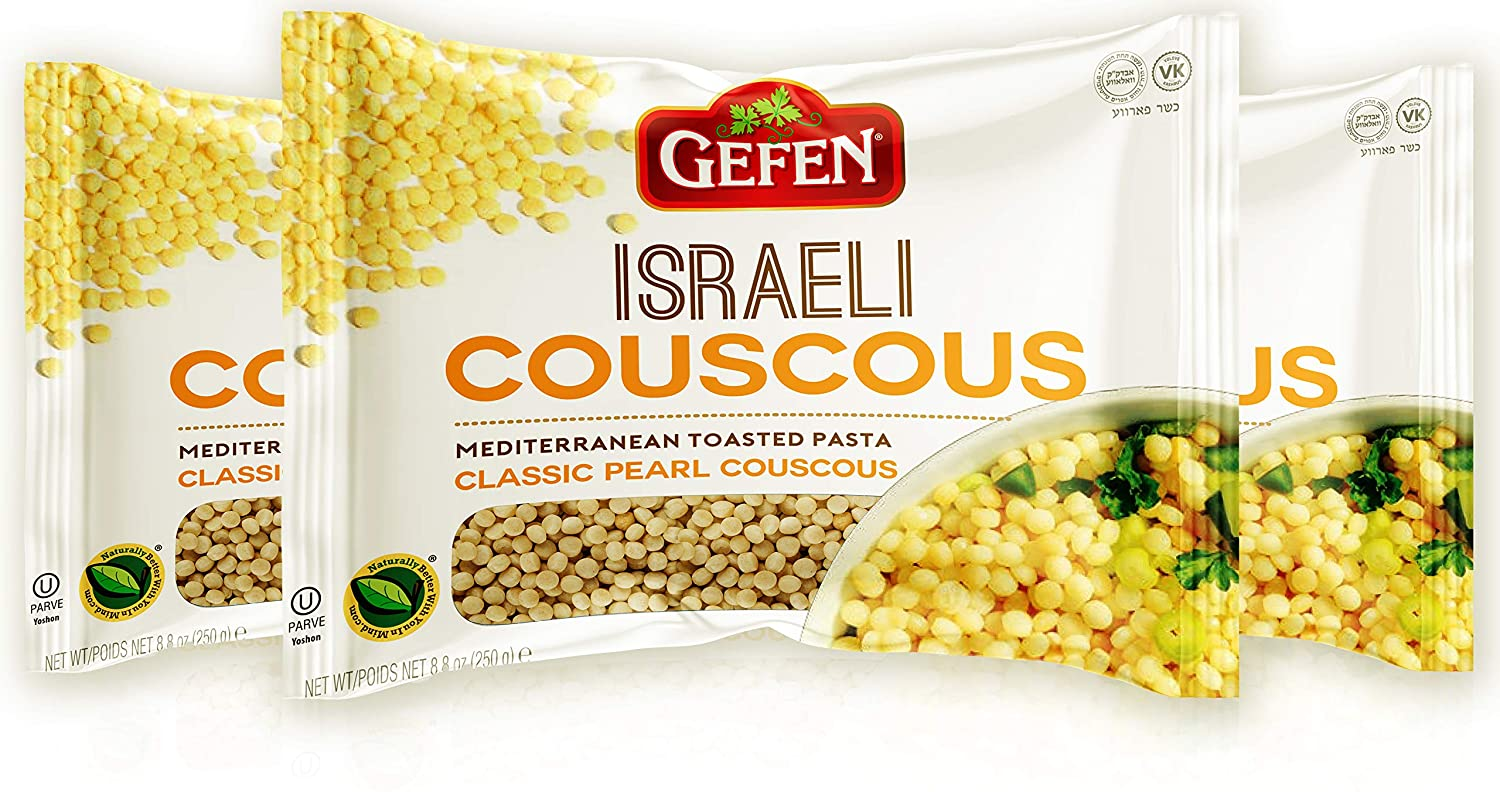 Amazon Com Gefen Israeli Classic Pearl Couscous 8 8oz 3 Pack All Natural Mediterranean Toasted Pasta Grocery Gourmet Food