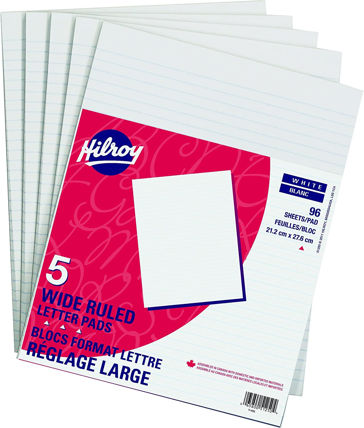 Hilroy Wide Ruled Legal Pad, 8-3/8 X 14 Inches, 90 Sheets, Canary, 5/pack (51451)